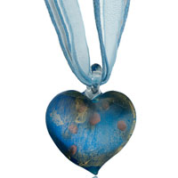 Blue Heart Pattern Murano Glass Lampwork Pendant Necklace Earrings