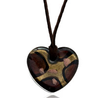 Dark Brown Heart Pattern Murano Glass Pendant Necklace Earrings