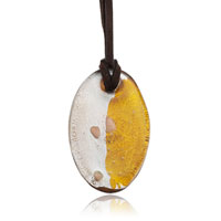 Yellow Oval Pattern Murano Glass Lampwork Pendant Necklace Earrings