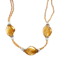 Yellow Helix Classic Murano Glass Gifts For Women Pendant Necklace Earrings