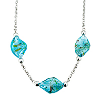 Blue Helix Classic Murano Glass Lampwork Pendant Necklaces