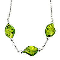 Green Helix Classic Murano Glass Gifts For Women Pendant Necklace Earrings