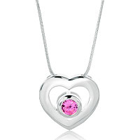 925 Sterling Silver Heart Pink Crystal Pendant