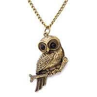 Antique Lovely Owl Pendant Necklace 18 Inches Chain Earrings