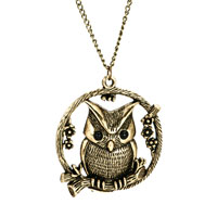 Vintage Lovely Owl Cage Pendant Necklace Gold Chain Earrings