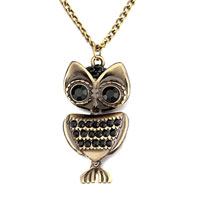 Mothers Day Gifts Retro Little Owl Black Rhienstone Crystal Pendant