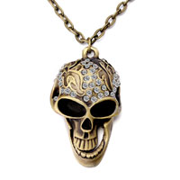 Mothers Day Gifts Retro Bronze Halloween Skull April Birthstone Clear Crystal Pendant