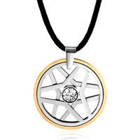 Karma Necklaces Clear Crystal Stainless Steel Hoop Star Pendant Necklace