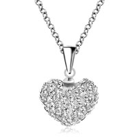 Heart Necklace Pendant Clear White Cz Crystal Round Pendant Earrings