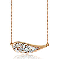 18 K Gold Pave Cz Angel Wing White Feather Pendant Necklace 18