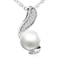 Big White Round Pearl Pendant Necklace