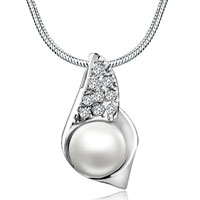 Sterling Silver Pearl Studded Trumpet Shell Shaped Jewelry Pendant Necklace Sterling Silver Pendant