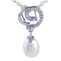 Sterling Silver Dangling Pearl Drop Swirl Jewelry Pendant Necklace Sterling Silver Pendant