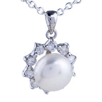 Sterling Silver Starburst Framed Pearl Pendant Necklace Sterling Silver Pendant