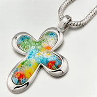 Celtic Cross Murano Glass Millefiori Pendant Necklace