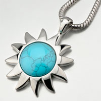 Blue Sun Turquoise Pendant Necklace For Women