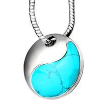 Blue Turquoise Circular Pendant Necklace 18 Inch Silver Chain Women