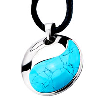 Blue Black Line Murano Glass Turquoise Pendant Necklace 18 Women