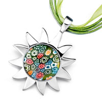 Murano Glass Millefiori Multi Color Sunflower Black Line Pendant Necklace