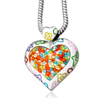 Murano Glass Millefiori Multi Color Heart Pendant Necklace