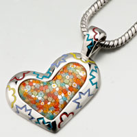 Art Heart Murano Glass Millefiori Pendant Necklace For Women