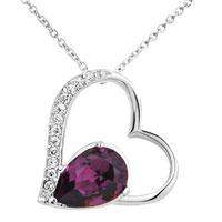 Elegant Open Heart Purple Drop Crystal Cz Pendant Necklace H 56