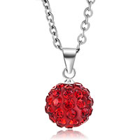 Red Swarovski Elements Crystal Shamballa Necklace Pendant With 18 Inch Long Rolo Chain Earrings
