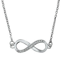 Silver Tone Clear White Crystal Infinity Necklace Pendant