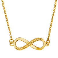 Gold Tone Clear White Crystal Infinity Necklace Pendant