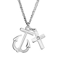 Silver Tone Anchor Cross Clear White Crystal Infinity Necklace Pendant