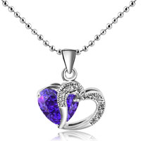 Silver Plated Open Heart Love Purple Crystal Cz Pendant Necklace Earrings