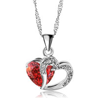 Red Open Heart Crystal Necklace Silver Plated Love Pendant Gifts Earrings