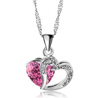 Pink Open Heart Crystal Necklace Silver Plated Love Pendant Gifts Earrings