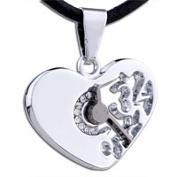 Mothers Day Gifts Heart Clock Stainless Steel Necklaces Pendant For Men