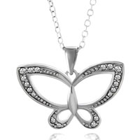 925 Sterling Silver Apr Birthstone Clear White Crystal Art Butterfly Pendant Necklace Sterling Silver Pendant