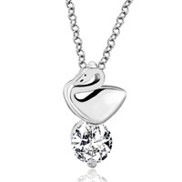 925 Sterling Silver Dangle Round Clear Crystal Swan Pendant Necklace