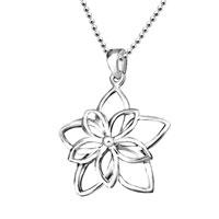 Open Double Floral Flower Pendant Necklace 925 Sterling Silver Earrings