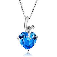 Sep Birthstone Heart Crystal 925 Sterling Silver Wedding Pendant Necklace