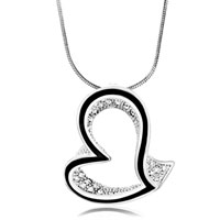 Hollow Heart Wedding White Crystal Pendant Necklace For Women Earrings