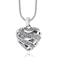 Sterling Silver Filigree Heart Clear Crystal Pendant Necklace