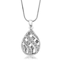 Clear Crystal Cz Filigree Vintage Antique Teardrop Pendant Necklace