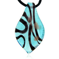Murano Glass Sterling Silver Blue And Striped Leaf Pendant