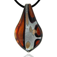 Murano Glass Orange Black Striped Leaf Shaped Necklace Pendant