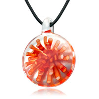 Round Orange Flower Pendant Necklace Murano Glass Beads Charms Bracelets Fit All Brands