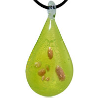 Murano Glass Lime Green Teardrop Lampwork Necklace Pendant