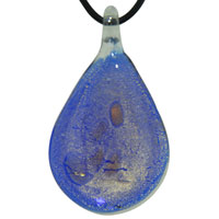 Murano Glass Deep Blue And Gold Teardrop