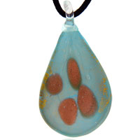 Murano Glass Gold Drop Blue Necklace Pendant