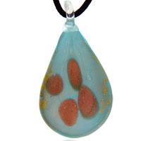 Murano Glass Gold Drop Blue Necklace Pendant