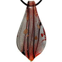 Murano Glass Red Leaf Shaped Black Stripes Necklace Pendant