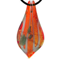 Murano Glass Orange And White Leaf Drop